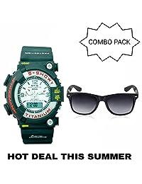 GT Gala Time Analog Digital Sports Watch For Boys & Men Combo With Wayfarer Unisex Sunglasses COMBO-WHITE-BIG-02