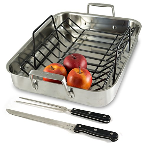 Culina Oven to Stove 16 Roaster Pan Stainless Steel with Non-stick Rack and Bonus Carving Set.