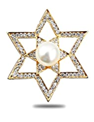 Silver Shoppee Celestial Boon 21K Yellow Gold Plated Cubic Zirconia And Pearl Studded Alloy Brooch