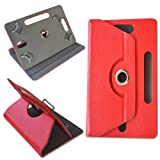 "Hello Zone Exclusive 360° Rotating 7"" Inch Flip Case Cover Book Cover For Datawind UbiSlate 7C+Tablet -Red"