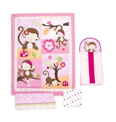 Girls Monkey Crib Bedding