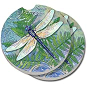 2 Pack Counterart Absorbent Stoneware Car Coaster, Dragonfly Inspiration
