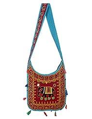 Rajrang Indian Designs Cotton Embroidered Elephant Maroon Sling Bag