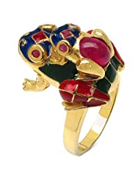 8.90 Grams Red Synthetic Stone & Ruby Gold Plated .925 Sterling Silver Frog Shape Blue, Red & Green Enamel Ring
