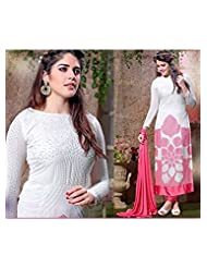 Rozdeal Latest Fancy Back Side Net White And Pink Long Straight Cut Salwar Suit