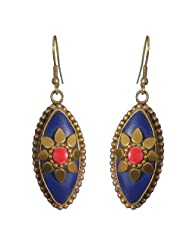 Saadi Gali Trendy And Suave Oval Shaped Navy Blue Earrings Embellished With Golden Leaves For Women