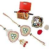 ECraftIndia Designer Bhaiya Bhabhi Rakhi Set With Royal Jewellery Box And Decorative Pooja Plate