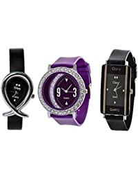 Glory Designer Latest Edition Of Fancy Watches For Girls & Women(Black,Pink)