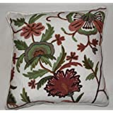 Crewel Pillow Dahiana Forest Colors On Offwhite Cotton D (18X18)