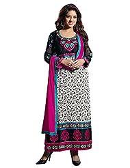 Mantra Fashion Black & White Cotton Fabric Semi-stitched Straight Salwar Kameez