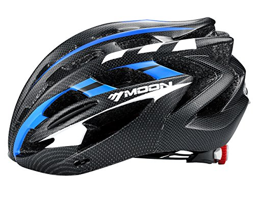 Moon Road and Mountain Bike MTB Helmet with LED Lamp, Light Weight with High Grade EPS and PC (Blue & Black)
