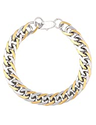 The Jewelbox 316L Stainless Steel Two Tone 3D Curb Mens Rhodium Plated Bracelet