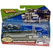 Hot Wheels Racing Rigs / Nitro Doorslammer Flatbed Transport And Nitro Doorslammer Car / Blue / 2008 / Mattel