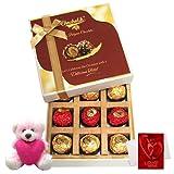 Chocholik Luxury Chocolates - Joy Of Chocolates Gift Box With Teddy And Love Card