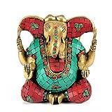 Redbag Brass Long Ears God Ganesha (15.24 Cm, 13.97 Cm, 7.62 Cm)