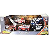 Toy State Road Rippers Rush & Rescue Emergency 5 Vehicle Set Ambulance, Fire Trucks, Police Suv, And Helicopter