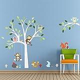 ElecMotive Cartoon Forest Animal Monkey Owls Fox Rabbits Hedgehog Tree Swing Nursery Wall Stickers Wall Murals...