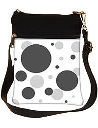 Snoogg Grey Circles Cross Body Tote Bag / Shoulder Sling Carry Bag