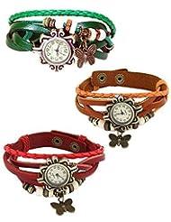 Red Green & Orange Leather Vintage Butterfly Bracelet Watch For Women