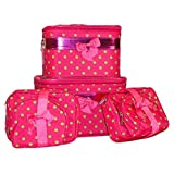 J Garden 6 Piece Polka Dot Cosmetic Case Set, Small Dots, Pink And Green
