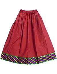 DollsofIndia Red Cotton Skirt & Multicolor Border -Elastic Waist -Length -42 In. - Red