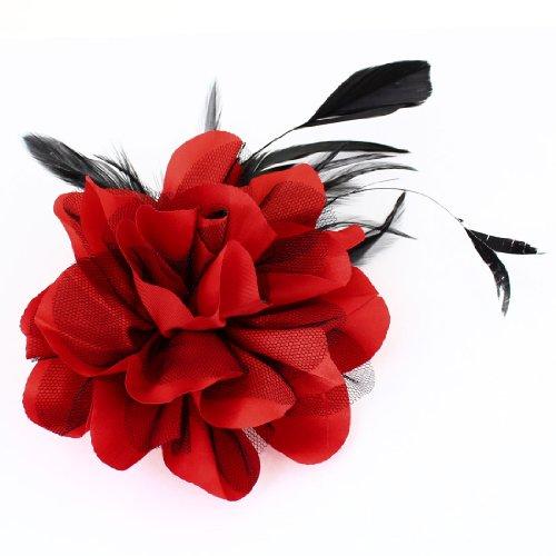 Ladies Wedding Party Black Red Mesh Flower Design Hairclip Brooch