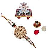 ECraftIndia Designer Single Rakhi With Lord Ganesha On Marble Chowki And Roli Tikka Matki