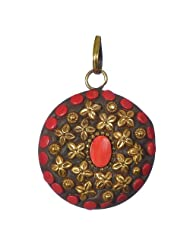 Astonishing And Modish Round Shaped Brass Pendent Layered With Small Red And Gold Embellishments For Women