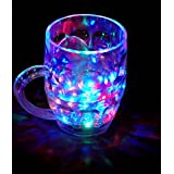 CONNECTWIDE® Rainbow Color Cup- Glass Beer Mug With Inductive Rainbow Color Disco LED 7 Colour Changing Liquid Activated Lights Multi Purpose Use Mug/Cup ,1 Unit ,Capacity-250ml
