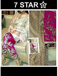 Mastani Kreation Beige Jacquard Embroidered Unstitched Dress Material - B019I8KFUY