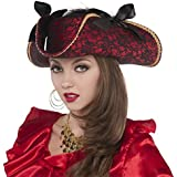 Notorious Pirate Party Lace Pirate Hat Accessory, Black And Red, Fabric