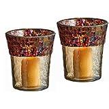 Christmas Lighting - Alhambra Mosaic Glass Trimmed Votive Candle Holder Set