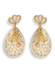 Aastha Jain Cream Bow Resin Carved Sterling Silver(18k Gold Polish) Earring For Women