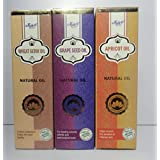 Jain's Set Of 3 Natural (Base/carrier) Oil (Apricot, Wheat Germ And Grape Seed 100 Ml Each,100% Natural And Organic)