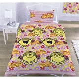 Mr Men Little Miss Sunshine Single Twin Duvet Cover Set, Kids Room Bedding