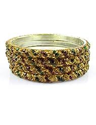 IMC DEALS Set Of 4 Piece Sparkling Glitter Work Ethnic Traditional Bangles Set (2.8 SIZE)