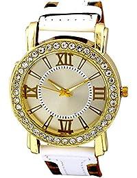Geneva Simple & Sober Classic White Leopard Strap Designer Wrist Watch For Girls, Women