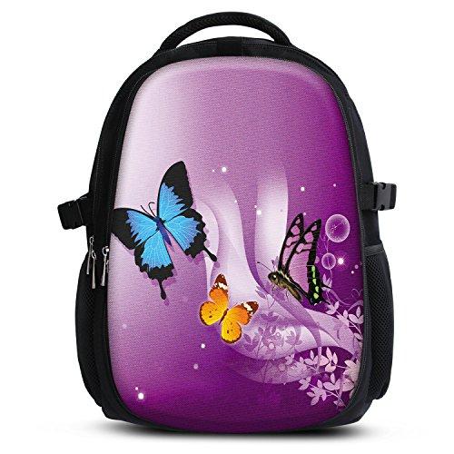 Mochila escolar para niños y niñas con compartimentos de MySleeveDesign - práctica para portátiles - Espalda y compartimentos acolchados, cómoda de llevar - con mucho espacio - Butterfly Purple