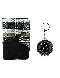 Apki Needs Long Black Mens Wallet & Beautiful Compass Keychain Combo
