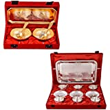 Silver & Gold Plated 2 Mini Square Bowl With Spoon And Tray And Silver Plated 6 Cup Plate Set With Tray