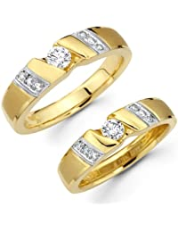 RM Jewellers CZ 92.5 Sterling Silver American Diamond Loving Couple Band For Men And Women