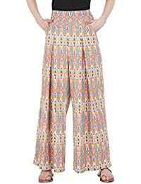 Makxziya Women Straight Cotton Beige Pleated Printed Palazzo