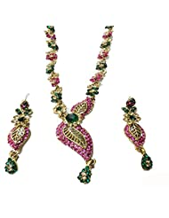 Sneh Twin Leaved Pink & Green Necklace Set For Women