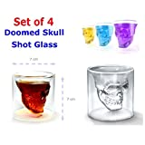 Set Of 4 Doomed Skull Shot Glass Use Upside Down With Whiskey Vodka Party Gift (2.5 Ounce Oz Capacity)