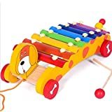 MOLITONG Cute Dog 8 Notes Toddle Tap Xylophone Glockenspiel Musical Instrument Dragging Trailer Toy