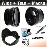 52mm Essential Lens Kit, Includes 2x Telephoto Lens + 0.45x HD Wide Angle Lens W/Macro + Flower Tulip Lens Hood...