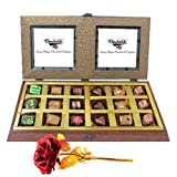 Gold Chocolate Box With 24k Red Gold Rose - Chocholik Belgium Chocolates