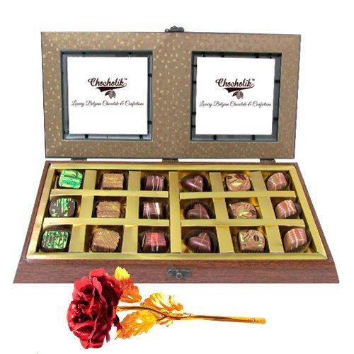 Gold Chocolate Box With 24k Red Gold Rose - Chocholik Belgium Chocolates
