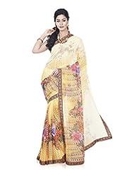 Aadarshini Women's Georgette Saree (4078, Yellow And Red)