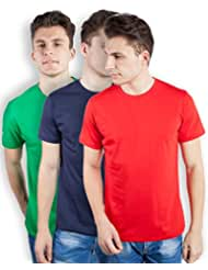 TOMO Men's Cotton Solid Color Round Neck T-shirt Combo Pack Of 3 - B00ZRLQ420